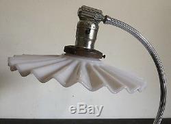 Old Vtg Antique Metal Art Deco White Milk Glass Sheild Chase Articulating Lamp