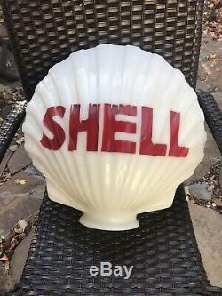 Original Shell Oil Gas Pump Globe, Milk Glass Clam Shell, Antique 1930's-40's