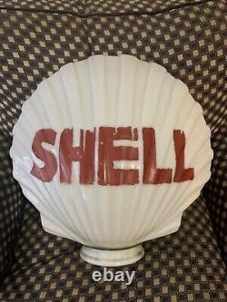 Original Shell Oil Milk Glass Clam Shell Gas Pump Top Globe
