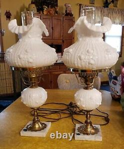 PAIR OF VNTG Fenton Milkglass Cabbage Rose Student Lamp LAMP LAMPS Marble Base