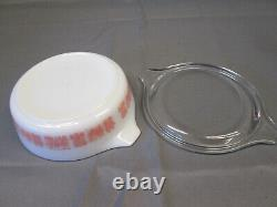 PYREX Pink White CINDERELLA Butterprint Vintage Lidded Covered 471 Casserole