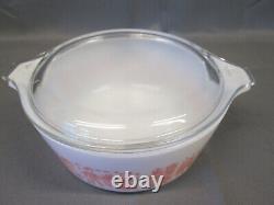 PYREX Pink White CINDERELLA Butterprint Vintage Lidded Covered 472 Casserole