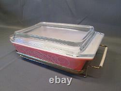PYREX Pink White SCROLL Vintage SPACE SAVER Lidded Covered Holder CRADLE 575-B