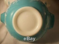 PYREX Vntg AMISH BUTTERPRINT ROOSTER WHITE TURQUOISE NESTING MIXING BOWLS