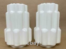 Pair Antique 1920s Art Deco White Milk Glass Skyscraper Pendant Light 9 Shades