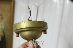 Pair Antique Art Deco Shade Milk Glass Clear Bottom Globe Ceiling Light Fixture