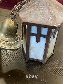 Pair Antique Vintage 1926 Hanging Craftsman/mission Light With Milk Glass Panes