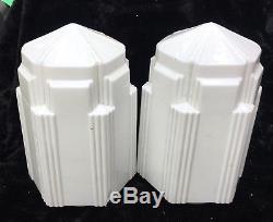 Pair Art Deco Skyscraper Globe Light Fixture Shade Milk Glass 16 1/8 Tall