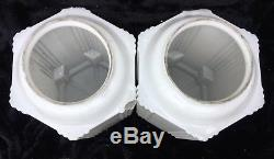 Pair Art Deco Skyscraper Globe Light Fixture Shade Milk Glass 16 1/8 Tall