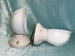 Pair Of Art Deco Paulding Porcelain Wall Light Sconce Fixtures Milk Glass Shade