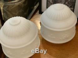 Pair Of Art Nouvea Frosted Milk Glass Shades Excellent 1900's Originals