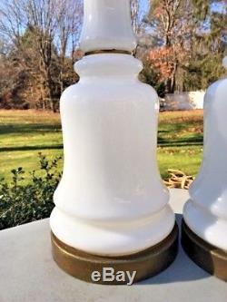 Pair Vintage Mid Century PAUL HANSON White MILK GLASS Opaline Table Lamps