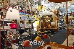 Pair Vintage Wall Sconce Lights Lamps Teak Milk Glass Mid-Century Modern 60s