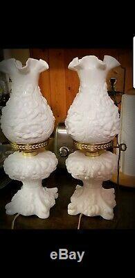 Pair of Fenton Milk Glass Poppy Oil Lamps
