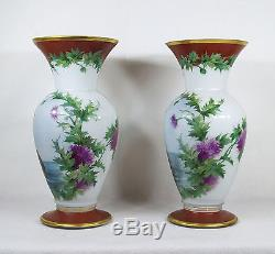 Pair of Hand Painted Nude Three Graces Milk Glass Vases Signed