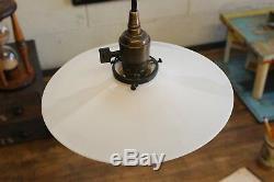 Pair x2 Vintage Antique 10 Pendants Flat Milk Glass OC White Era Light Shade
