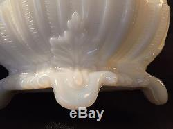 Portieux Vallerysthal France Squirrel Top Covered Candy Bowl Opaline Milk Glass