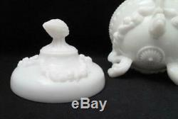Portieux Vallerysthal French Milk Glass Argonaut Shell Dolphin Lidded Dish