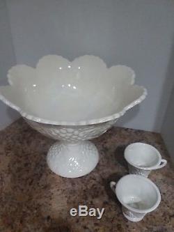 Punch Bowl Milk Glass Antique