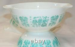 Pyrex ALL WHITE Butterprint Cinderella Mixing Bowl Set Turquoise Amish 195.95