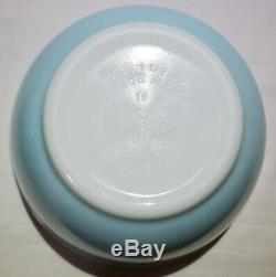 Pyrex Americana Blue Mixing Bowl 401 402 RARE EVC Turquoise White Rim Stripe