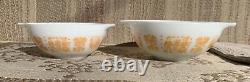 Pyrex Amish Butterprint 4 Piece Cinderella Orange White Mixing Nesting Bowl Set