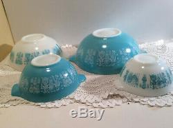 Pyrex Amish Butterprint Turquoise Blue Mixing Cinderella Bowl Set 441-442-443-44