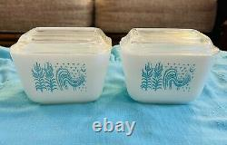 Pyrex Amish Butterprint Turquoise On White 8 pc Refrigerator Dish Set withLids VTG