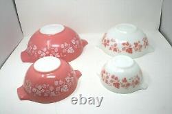 Pyrex Pink & White Gooseberry Cinderella Nesting Mixing Bowls Set of 4