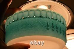 Pyrex Rare Crown Agee Turquoise Picket Fence White Spears Soufflé HTF Vintage