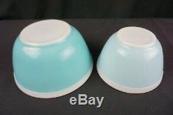 Pyrex Turquoise Blue Americana Mixing Bowls 402 &401, 1.5qt/pt Blue withWhite Rim