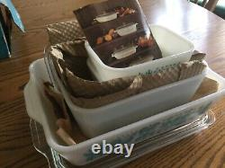 Pyrex butterprint refridgerator dish set new old stock turquoise and white