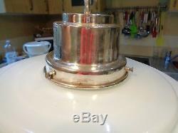 Qlarge Art Deco Milk Glass Light Shade Silver Plated Stepped Top 13 Diameter