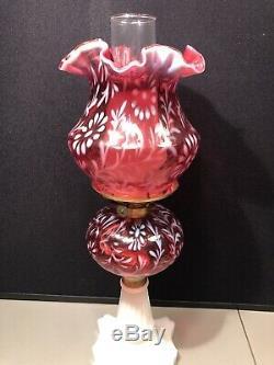 RARE 20 FENTON DAISY & FERN CRANBERRY White Milk Glass Base HURRICANE OIL LAMP