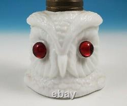 RARE Antique Figural Owl Head Miniature Oil Kerosene Night Lamp Milk Glass