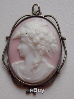 RARE Antique Vintage Sterling silver pink and white milk glass cameo pendant
