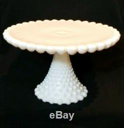 RARE Duncan Miller Milk Glass Giant Old Hobnail Cake Plate Pedestal Vtg White