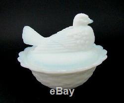 RARE EAPG Milk Glass German Gebruder Von Streit Covered Dish Pouter Pigeon