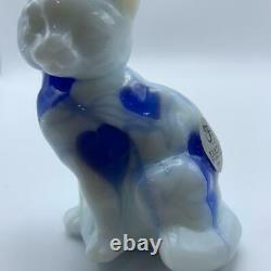 RARE Fenton Dave Fetty Milk Glass with Blue Hanging Hearts Sitting Cat Lim Ed