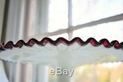 RARE Fenton Ruby Red Crest Milk Glass Pedestal Cake Plate Stand STUNNING