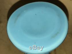 RARE VALLERYSTHAL 19c MONKEY ANIMAL FIGURAL ANTIQUE BLUE OPALINE MILK GLASS VASE