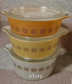 RARE VTG Pyrex Cross Stitch 3 Casserole Dishes with Lids COMPLETE 471 472 473