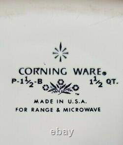 RARE Vintage Corning Ware STAMP P-1 1/2 -B Blue Cornflower 1.5 Qt. With Pyrex Lid