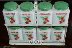 RARE! Vintage Tipp City Milk Glass Spice Jar Rack Original Green Red Cherries