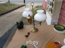REDUCED Antique Brass Dual White Swirl Shades Student Lamp