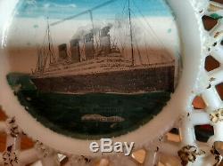 RMS Britannic RARE Unfinished Milk Glass Plate Prototype Titanic White Star Line