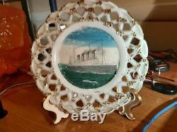 RMS Britannic Unfinished Milk Glass Plate Prototype Titanic White Star Line