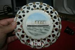 RMS Olympic Milk Glass Souvenir Plate Titanic White Star Line Interest