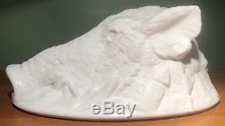 Rare Antique Atterbury Milk Glass Boar's Head Dish Cover 1888