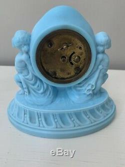 Rare Antique Figural Satin Blue Milk Glass Draped Cherubs New Haven Clock